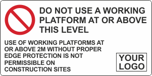 Do not use a working platform