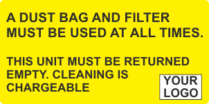 Dust bag and filter must be used