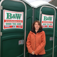 Hi Tack Plus stickers on portable toilets