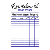 Maintenance Record Stickers